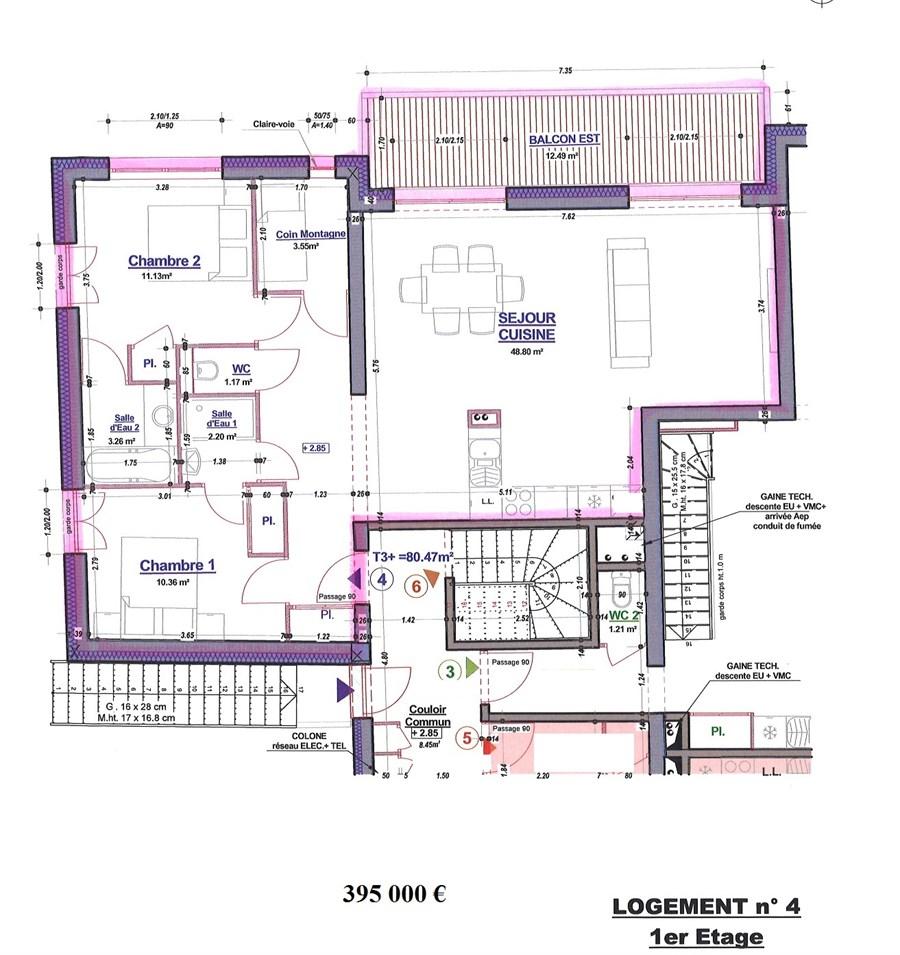 vente appartement sur plan 92 96m morillon immobilier haute savoie. Black Bedroom Furniture Sets. Home Design Ideas